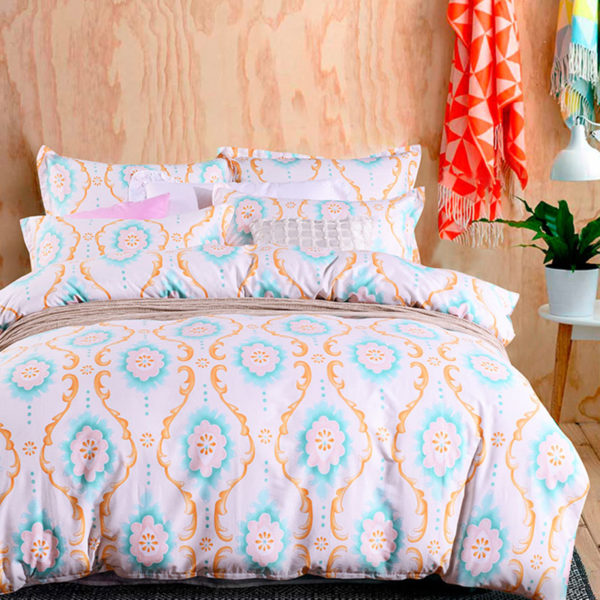 Cool White And Orange Cotton Bedding Set 1 600x600 - Cool White And Orange Cotton  Bedding Set