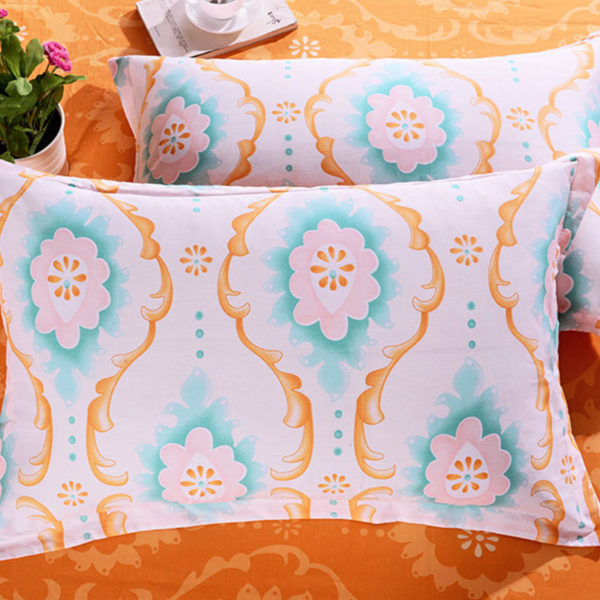 Cool White And Orange Cotton Bedding Set 2 600x600 - Cool White And Orange Cotton  Bedding Set