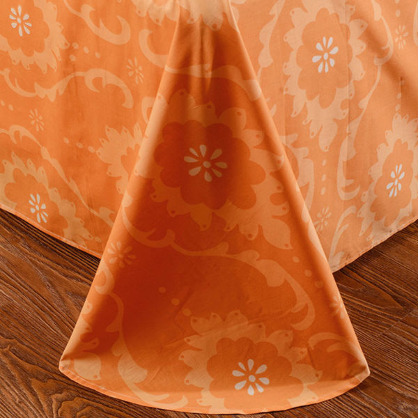Cool White And Orange Cotton Bedding Set 3 600x600 - Cool White And Orange Cotton  Bedding Set