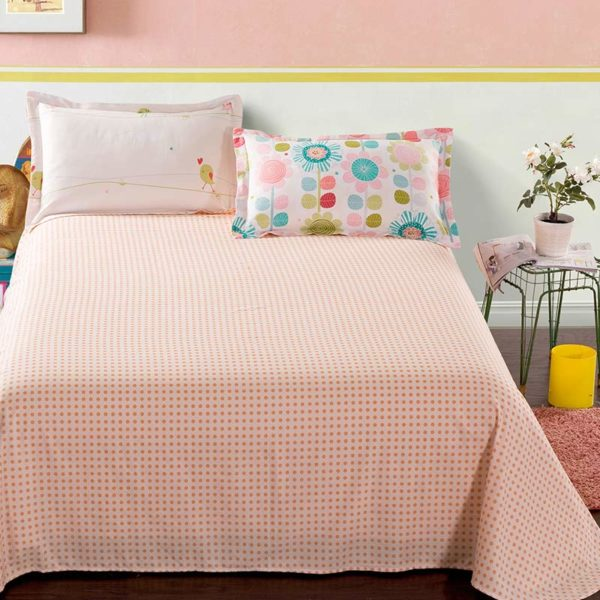 Cute Floral Cotton Bedding Set In White And Pink 4 600x600 - Cute Floral Cotton Bedding Set  In White And Pink