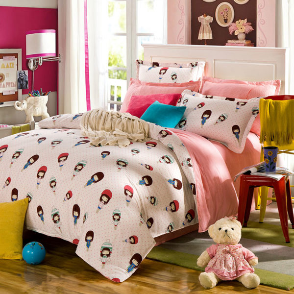 Cute Girl Motif Cotton Bedding Set 1 600x600 - Cute Girl Motif Cotton Bedding Set