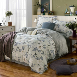 Delicate Grey Floral Cotton Bedding Set 1 300x300 - Delicate Grey Floral  Cotton Bedding Set