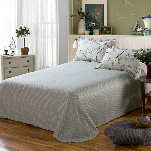 Delicate Grey Floral  Cotton Bedding Set