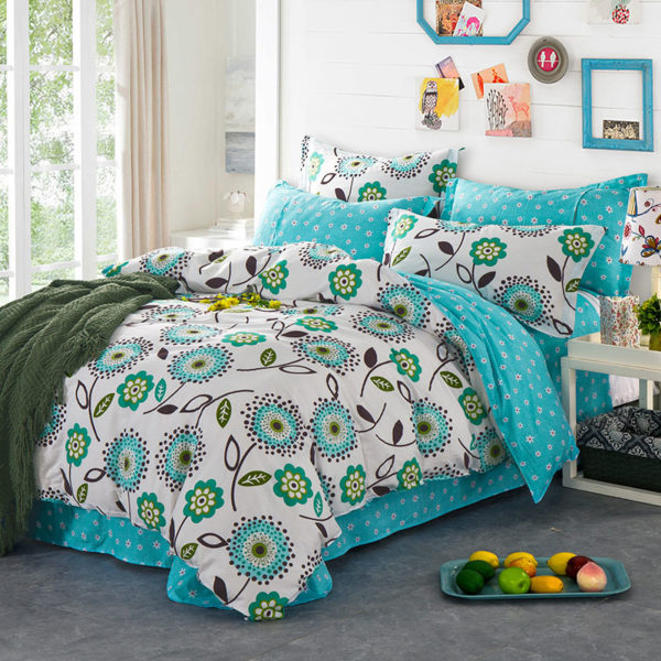 Delightful White And Turquoise Cotton Bedding Set 1 600x600 - Delightful White And Turquoise Cotton  Bedding Set