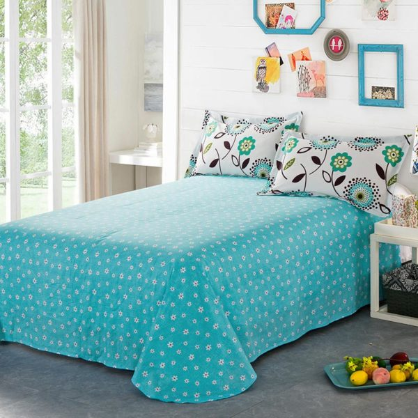 Delightful White And Turquoise Cotton Bedding Set 4 600x600 - Delightful White And Turquoise Cotton  Bedding Set
