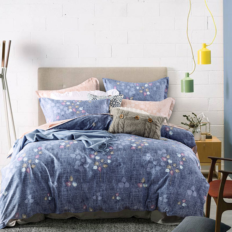Elegant Light Blue And Brown Floral Themed Cotton Bedding