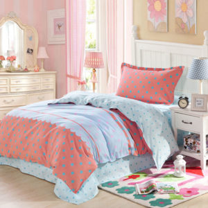Elegant Light Blue and Red polka dots Cotton Bedding Set 1