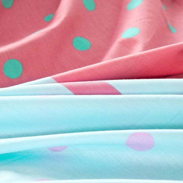 Elegant Light Blue and Red polka dots Cotton Bedding Set 4