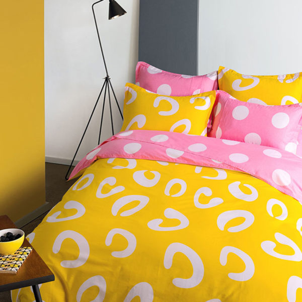 ExquisiteYellow and Pink Cotton Bedding Set 3
