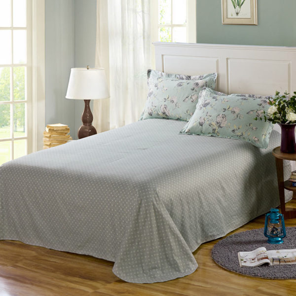 Eye catching Forest Green And Grey Cotton Bedding Set 4