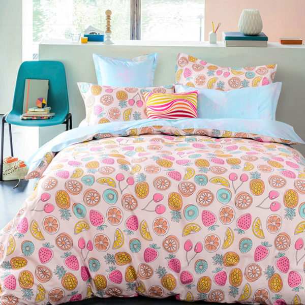 Fancy Fruit Printed Cotton Bedding Set 1 600x600 - Fancy Fruit Printed Cotton Bedding Set