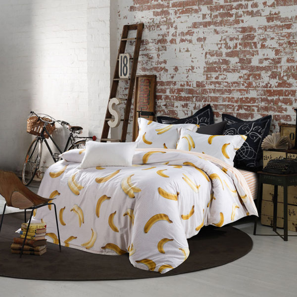 Fascinating Banana Print Cotton  Bedding Set