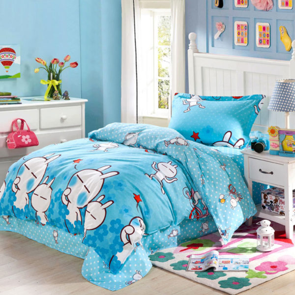 Fascinating Light Blue Cartoon Cotton Bedding Set 1 600x600 - Fascinating Light Blue Cartoon Cotton Bedding Set