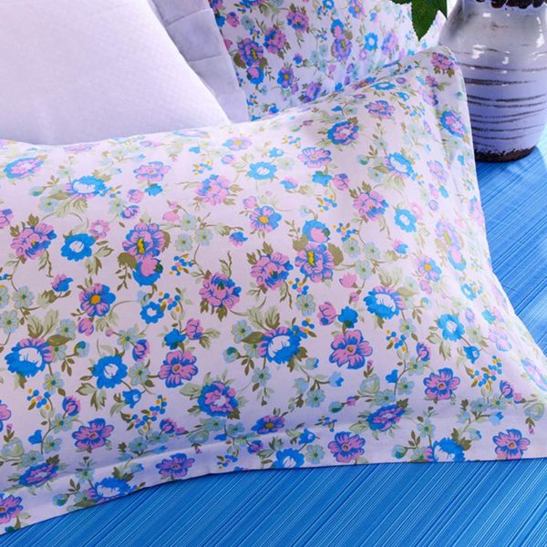Floral Cotton Bedding Set In Azure And White 2