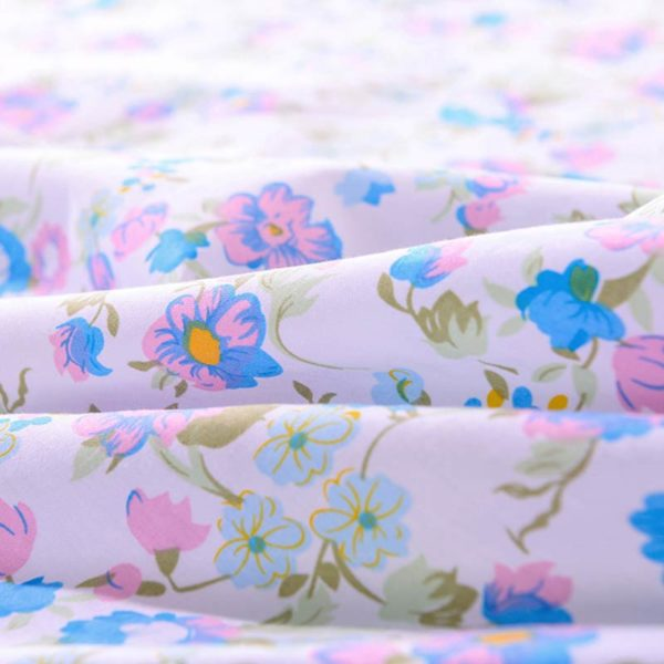 Floral Cotton Bedding Set In Azure And White 5