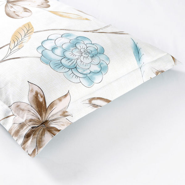 Floral Cotton Bedding Set In White and Blue 3