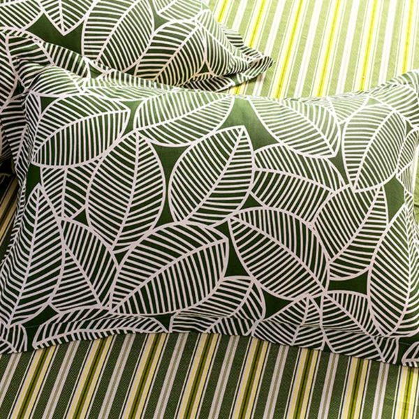 Funky Stripes And Leaves Cotton Bedding Set 2 600x600 - Funky Stripes And Leaves Cotton  Bedding Set