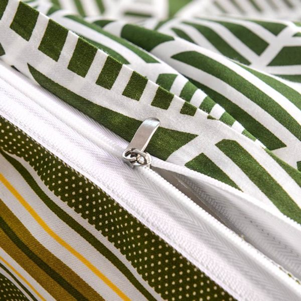 Funky Stripes And Leaves Cotton Bedding Set 4 600x600 - Funky Stripes And Leaves Cotton  Bedding Set