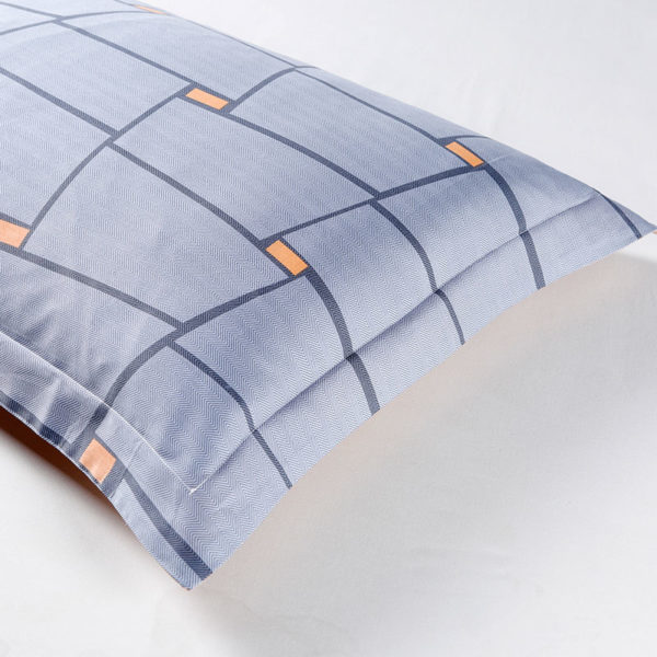 Geometrical Blue And Orange Cotton Bedding Set