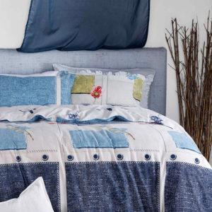 Glamorous White And Blue Cotton Bedding Set