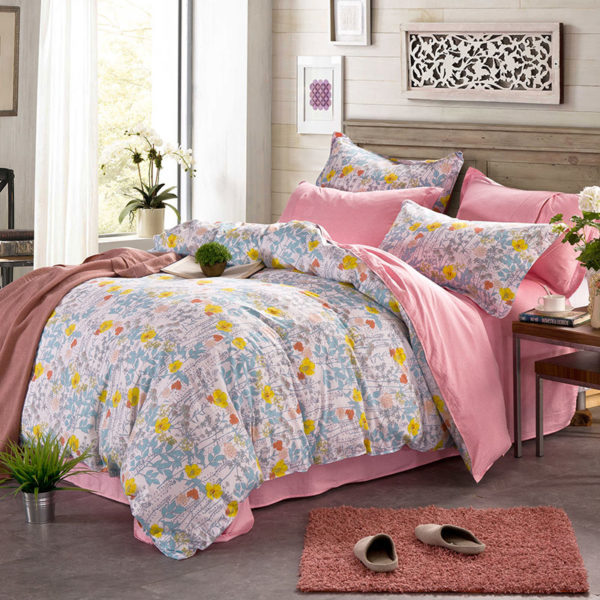 Graceful Pink And White Floral Cotton Bedding Set 1 600x600 - Graceful Pink And White Floral Cotton  Bedding Set