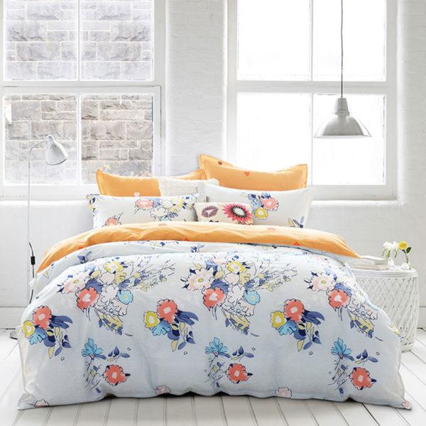 Heart And Flower Themed Light Grey Blue Cotton Bedding Set