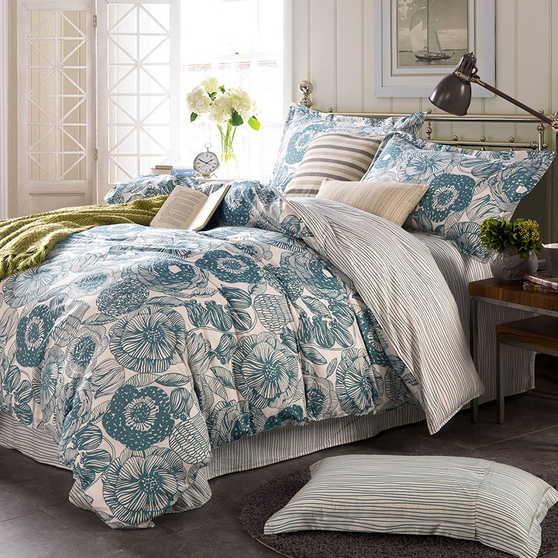 Light Blue And White Floral Cotton Bedding Set Ebeddingsets