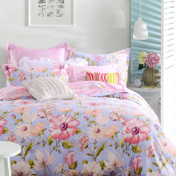 Light Blue and Pink Floral Cotton Bedding set 1 600x600 - Light Blue and Pink Floral Cotton Bedding set