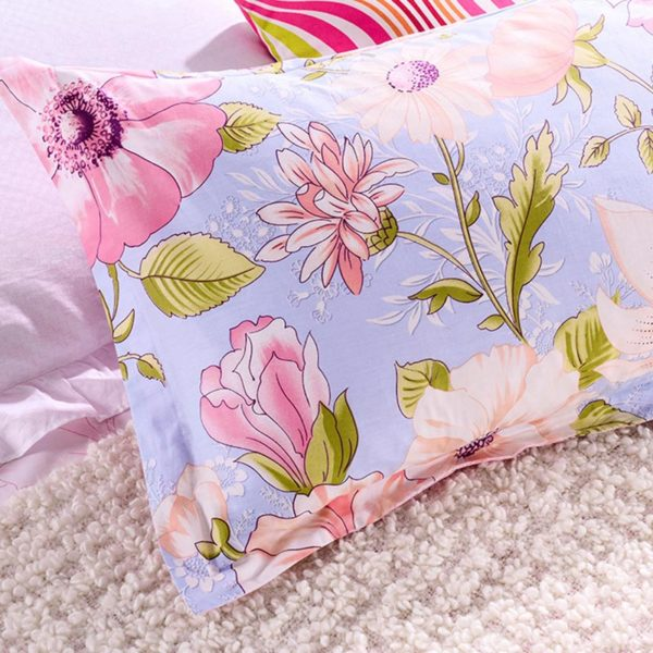 Light Blue and Pink Floral Cotton Bedding set 2 600x600 - Light Blue and Pink Floral Cotton Bedding set