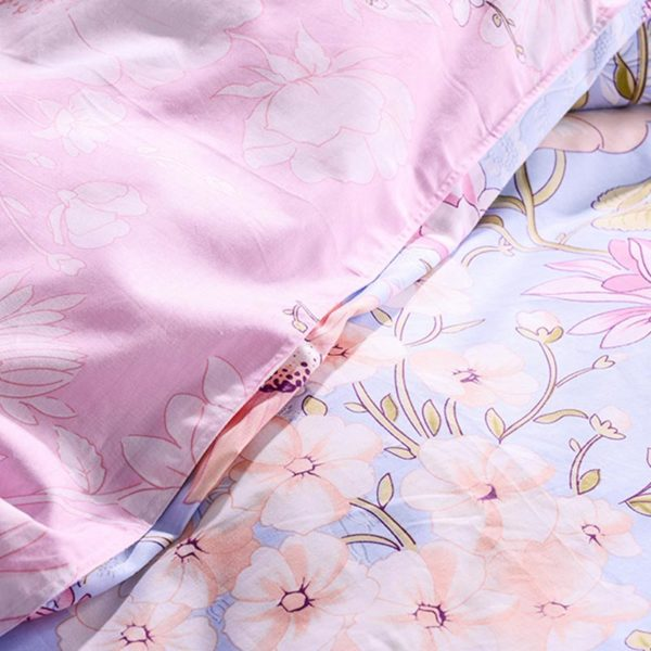 Light Blue and Pink Floral Cotton Bedding set 5 600x600 - Light Blue and Pink Floral Cotton Bedding set