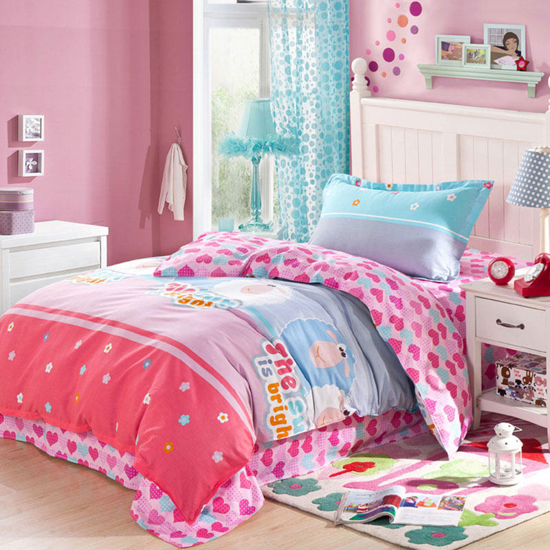 light blue and pink shaun the sheep cotton bedding set ebeddingsets. Black Bedroom Furniture Sets. Home Design Ideas