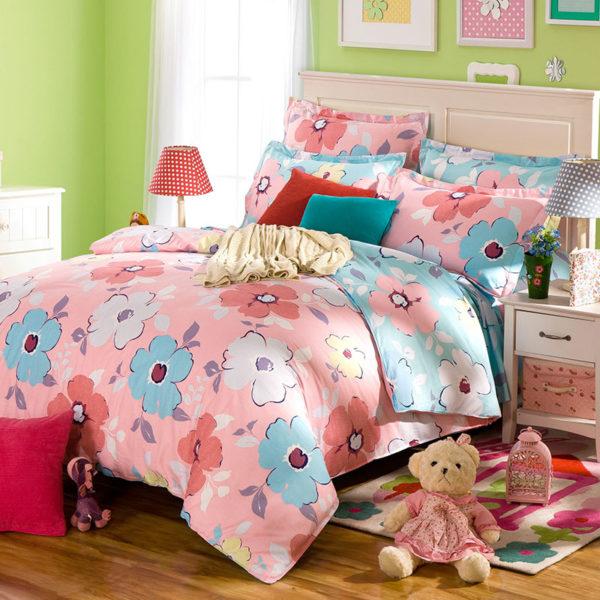 Lovely Pink And Light Blue Floral Cotton Bedding Set 1 600x600 - Lovely Pink And Light Blue Floral Cotton  Bedding Set