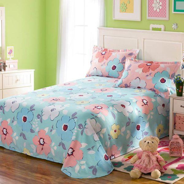 Lovely Pink And Light Blue Floral Cotton Bedding Set 3 600x600 - Lovely Pink And Light Blue Floral Cotton  Bedding Set