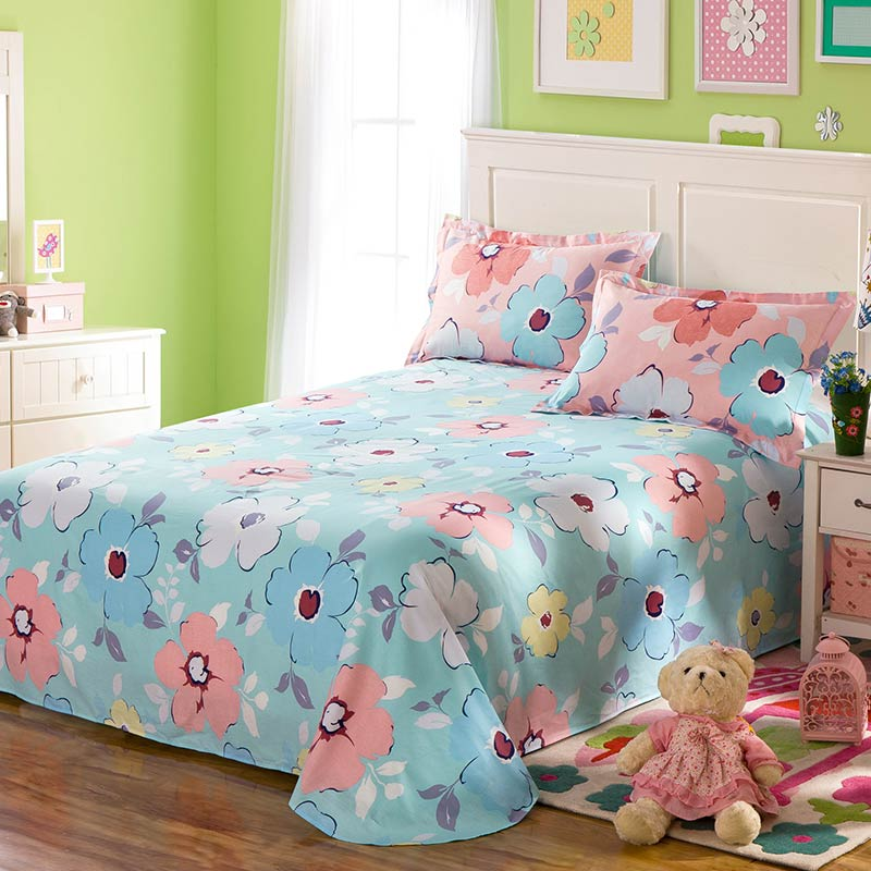 Lovely Pink And Light Blue Floral Cotton Bedding Set