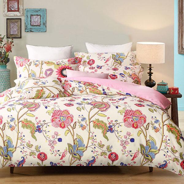 Multicolored Floral Cotton Bedding Set 1 600x600 - Multicolored Floral  Cotton Bedding Set