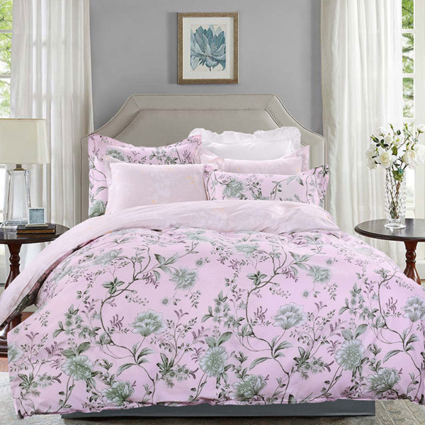 Pale Pink Floral Cotton Bedding Set 1 600x600 - Pale Pink Floral Cotton  Bedding Set