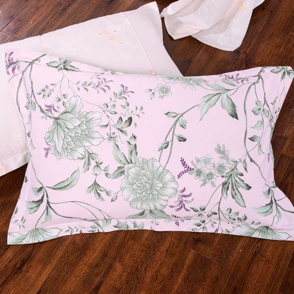 Pale Pink Floral Cotton Bedding Set 2 600x600 - Pale Pink Floral Cotton  Bedding Set