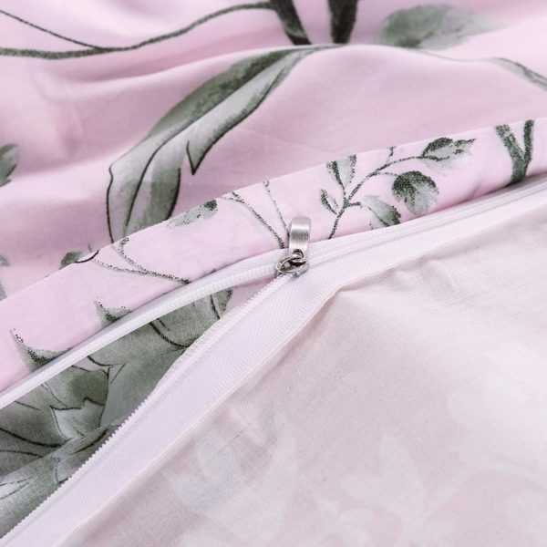 Pale Pink Floral Cotton Bedding Set 3 600x600 - Pale Pink Floral Cotton  Bedding Set