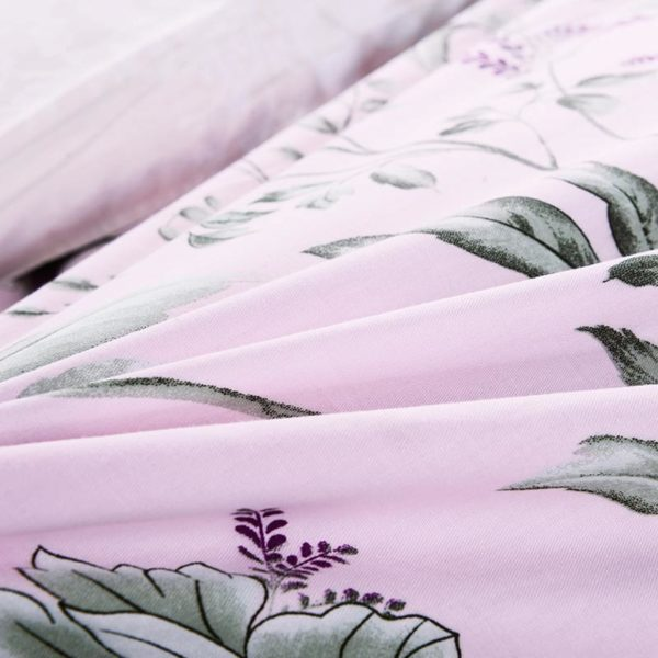Pale Pink Floral Cotton Bedding Set 4 600x600 - Pale Pink Floral Cotton  Bedding Set