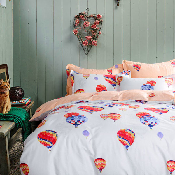 Peppy Balloon Themed Cotton Bedding Set