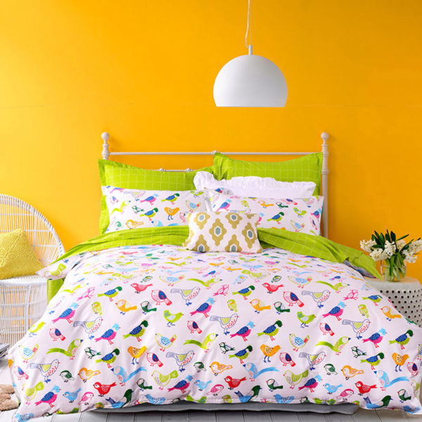 Peppy Bird Printed Cotton Bedding Set 1 600x600 - Peppy Bird Printed Cotton  Bedding Set