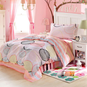 Pink and White Circle Patterned Cotton Bedding Set 1 300x300 - Pink and White Circle Patterned Cotton Bedding Set