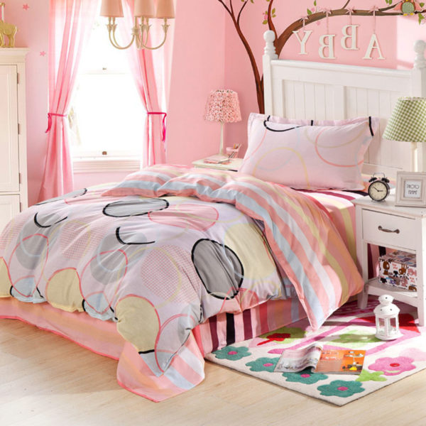 Pink and White Circle Patterned Cotton Bedding Set 1 600x600 - Pink and White Circle Patterned Cotton Bedding Set