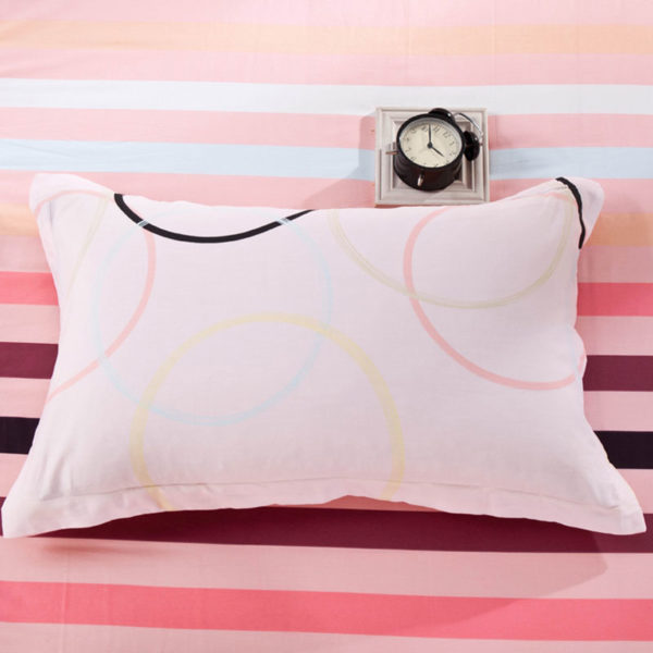 Pink and White Circle Patterned Cotton Bedding Set