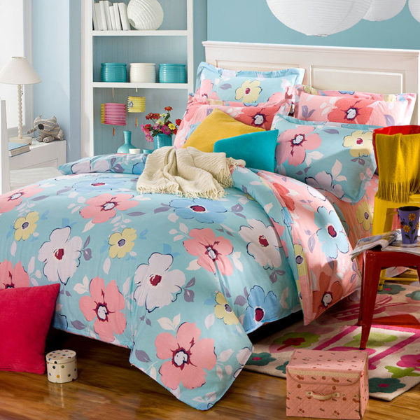 Pretty Pink And Light Blue Floral Cotton  Bedding Set