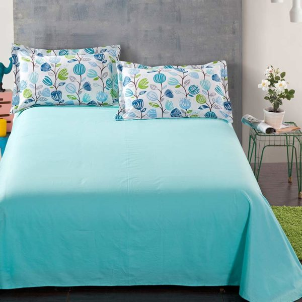 Pretty White And Blue Floral Cotton  Bedding Set
