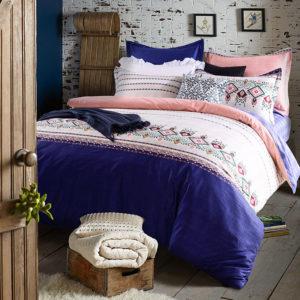 Refreshing Royal Blue And Pink Cotton Bedding Set