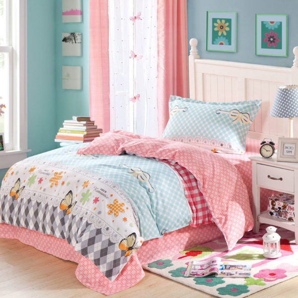 Romantic Light Blue and pink butterfly pattern Cotton Bedding Set 1 600x600 - Romantic Light Blue and pink butterfly pattern Cotton  Bedding Set