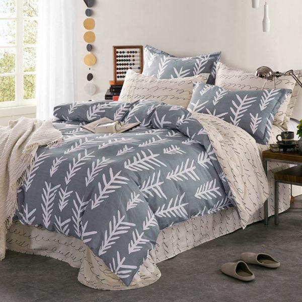 Soothing Light Grey Cotton Bedding Set