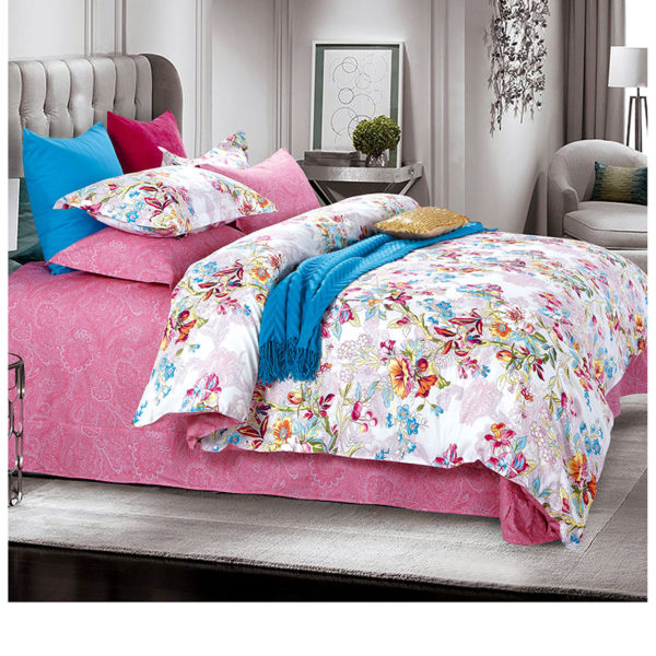 Sophisticated Pink and White Cotton Bedding Set 1 600x600 - Sophisticated Pink and White  Cotton  Bedding Set